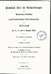 Titelblatt des Protokolls aus Eisenach